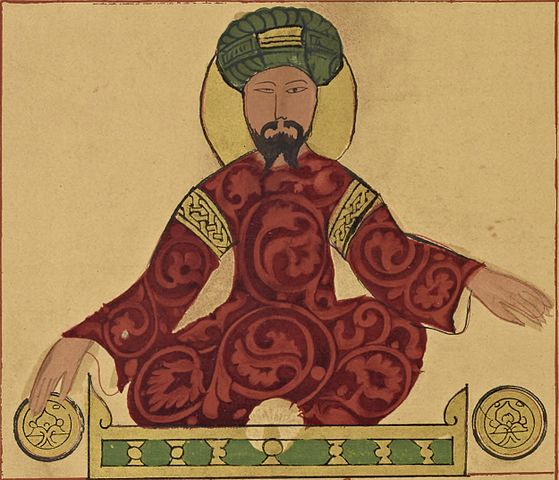 Portrait of Saladin in green turban and red robes seated cross-legged on a dias.