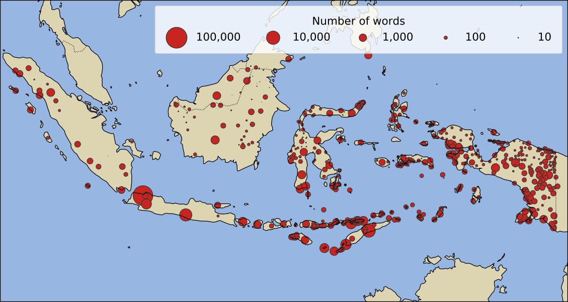 Red dots on map of Indonesia show location of Indonesian languages for which PanLex has data