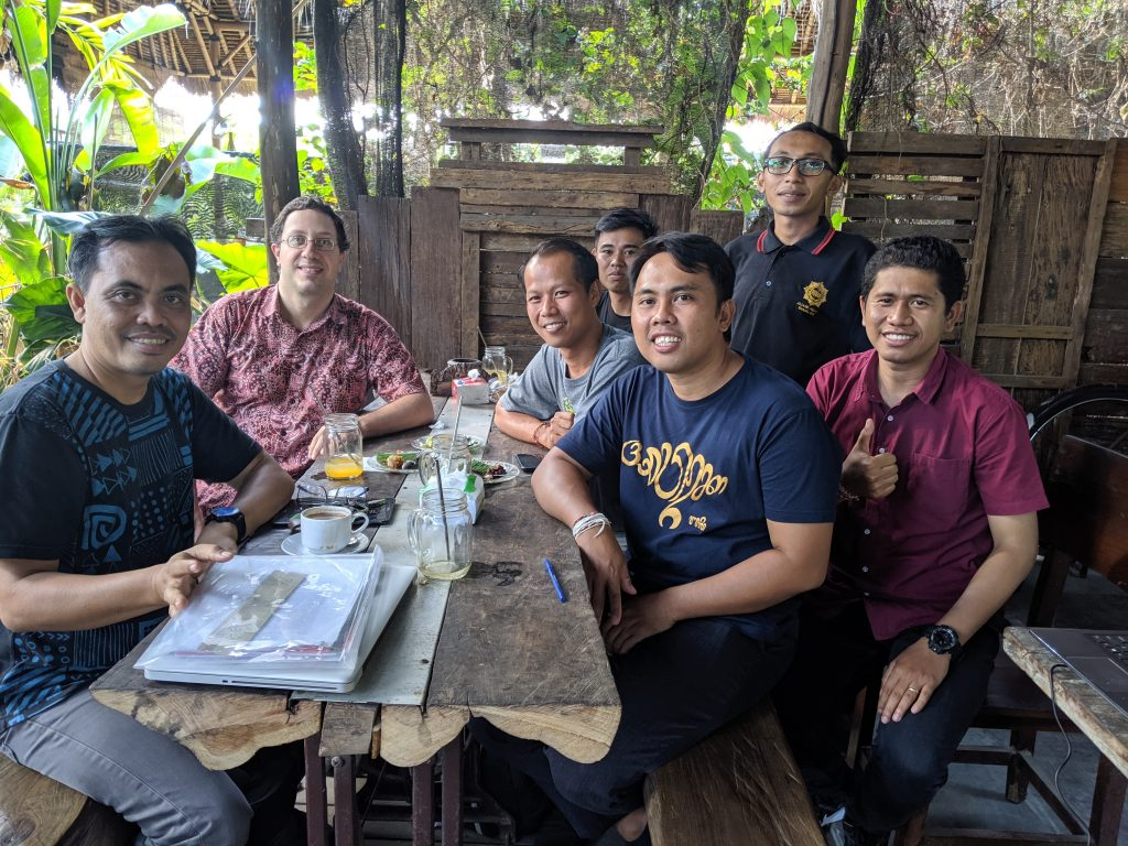 contributors to lontar project, at a cafe in Denpasar